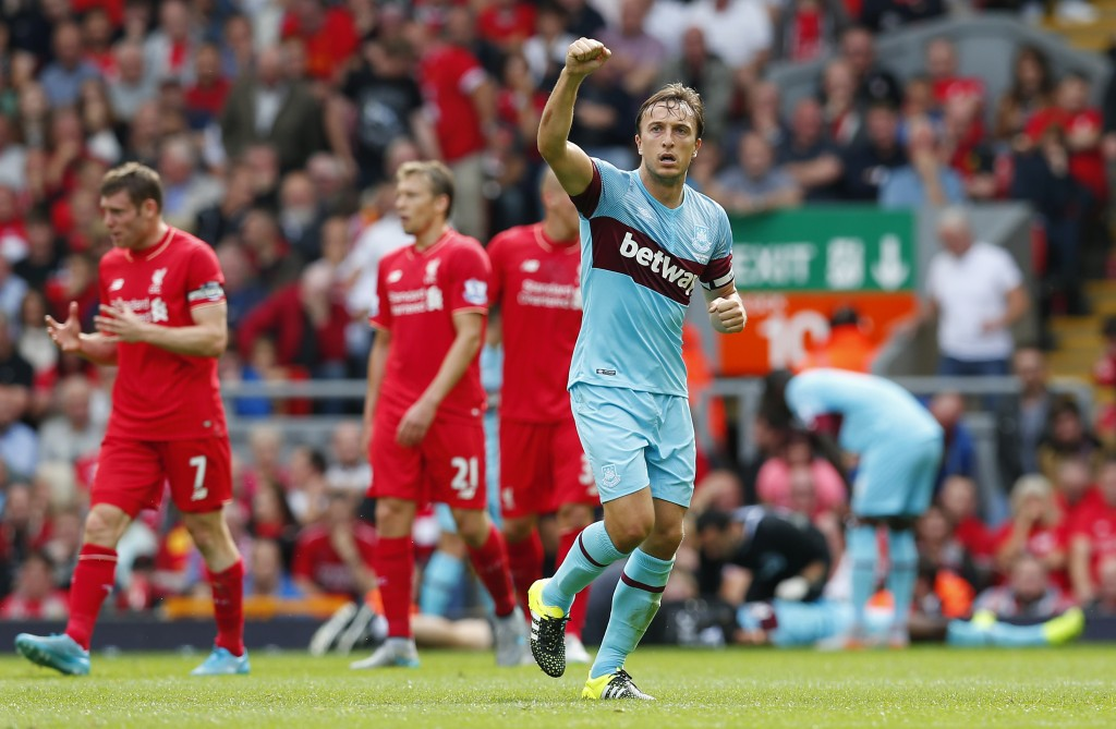 Mark Noble scored West Ham's second at Anfield. Reuters / Eddie Keogh.
