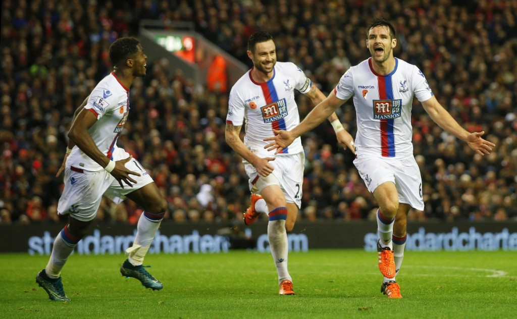 Scott Dann celebrates his winner against Liverpool for Crystal Palace