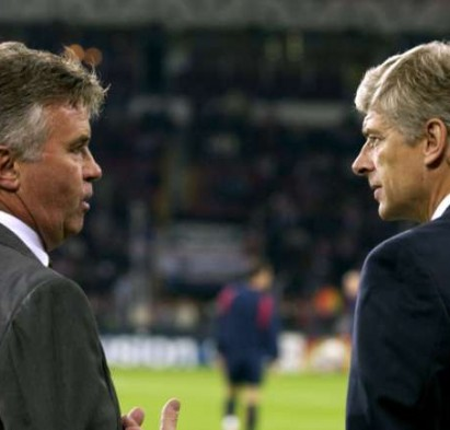 Old foes Guus Hiddink and Arsene Wenger go head to head on Sunday. Action Images / John Sibley