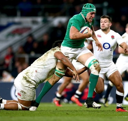 RBS 6 Nations Championship Round 3, Twickenham Stadium, London, England 27/2/2016 England vs Ireland Ireland's Ultan Dillane tackled by Billy Vunipola of England Mandatory Credit ©INPHO/James Crombie