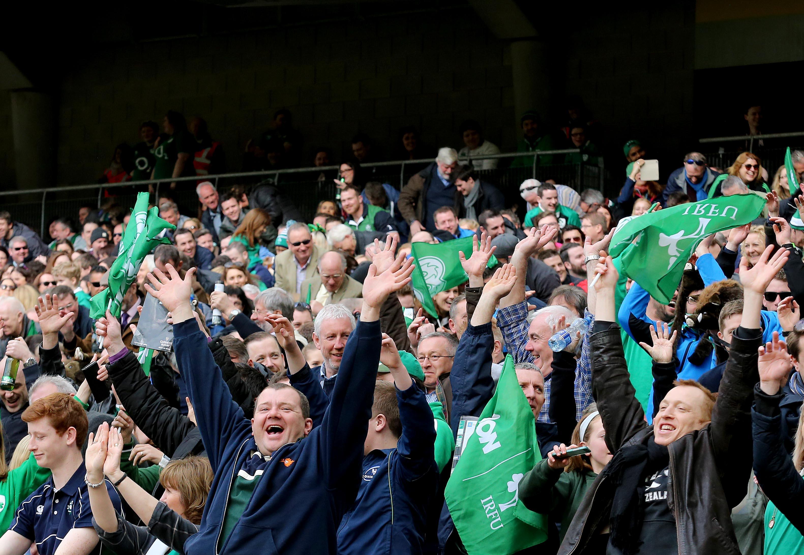 RBS 6 Nations Championship Round 4, Aviva Stadium, Dublin 12/3/2016 Ireland vs Italy Ireland fans do a mexican wave  Mandatory Credit ©INPHO/Ryan Byrne