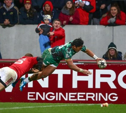 Bundee Aki scored against Munster in Round Eight ©INPHO