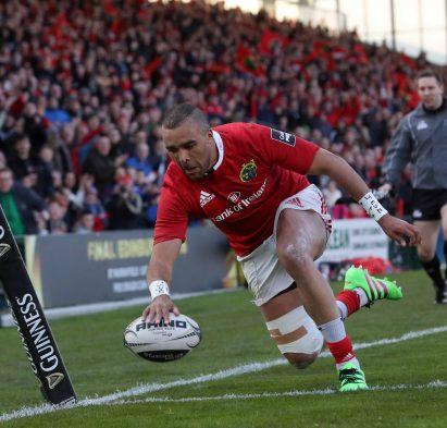 Munster vs Edinburgh Munster's Simon Zebo scores a try