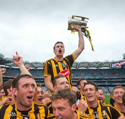 GAA Hurling All Ireland Senior Championship Final, Croke Park, Dublin 6/9/2015.Kilkenny vs Galway.Kilkenny players lift captain Joey Holden and the Liam McCarthy Cup in celebration.Mandatory Credit ©INPHO/Morgan Treacy
