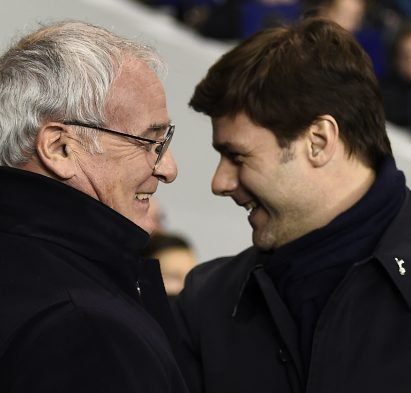 "Football Soccer - Tottenham Hotspur v Leicester City - Barclays Premier League - White Hart Lane - 13/1/16 Tottenham manager Mauricio Pochettino and Leicester City manager Claudio Ranieri before the game Reuters / Dylan Martinez Livepic EDITORIAL USE ONLY. No use with unauthorized audio, video, data, fixture lists, club/league logos or ""live"" services. Online in-match use limited to 45 images, no video emulation. No use in betting, games or single club/league/player publications.  Please contact your account representative for further details."