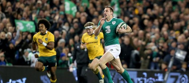 Guinness Series 22/11/2014 Ireland vs Australia Ireland's Tommy Bowe runs in for their second try  Mandatory Credit ©INPHO/Dan Sheridan