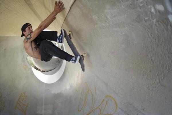Skateboarder wearing Vans Old Skool Trainers