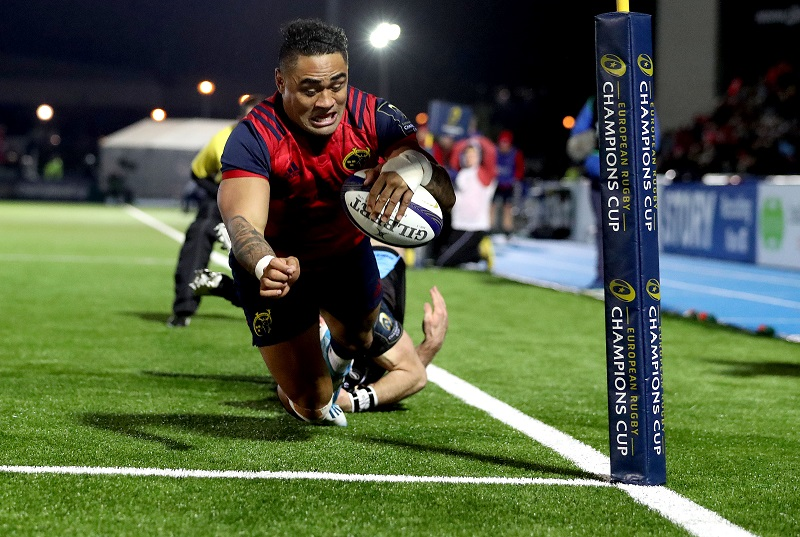 European Rugby Champions Cup Round 5, Scotstoun Stadium, Glasgow 14/1/2017 Glasgow Warriors vs Munster Munster's Francis Saili scores a try Mandatory Credit ©INPHO/Dan Sheridan