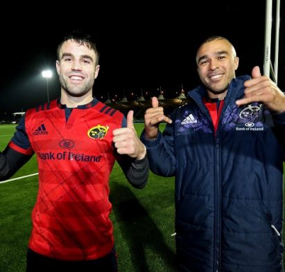 European Rugby Champions Cup Round 5, Scotstoun Stadium, Glasgow 14/1/2017 Glasgow Warriors vs Munster Munster's Conor Murray and Simon Zebo celebrate after the match Mandatory Credit ©INPHO/Billy Stickland