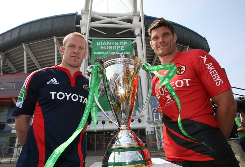 2008 Heineken Cup Final Press Conference 23/5/2008 Munster Captain Paul O'Connell and Toulouse captain Fabien Pelous Mandatory Credit ©INPHO/Billy Stickland