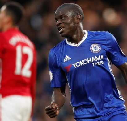 "Britain Soccer Football - Chelsea v Manchester United - Premier League - Stamford Bridge - 23/10/16 Chelsea's N'Golo Kante celebrates scoring their fourth goal  Action Images via Reuters / John Sibley Livepic EDITORIAL USE ONLY. No use with unauthorized audio, video, data, fixture lists, club/league logos or ""live"" services. Online in-match use limited to 45 images, no video emulation. No use in betting, games or single club/league/player publications.  Please contact your account representative for further details."