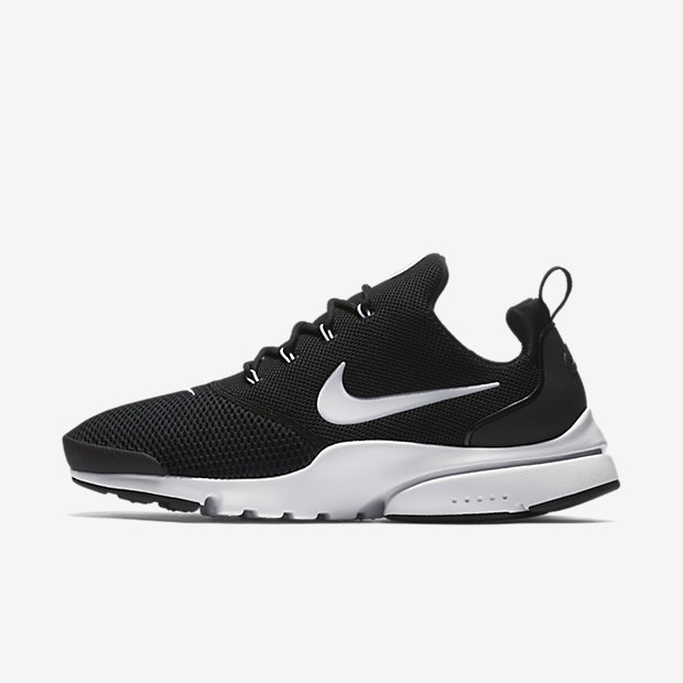 Black and white Nike Presto Fly