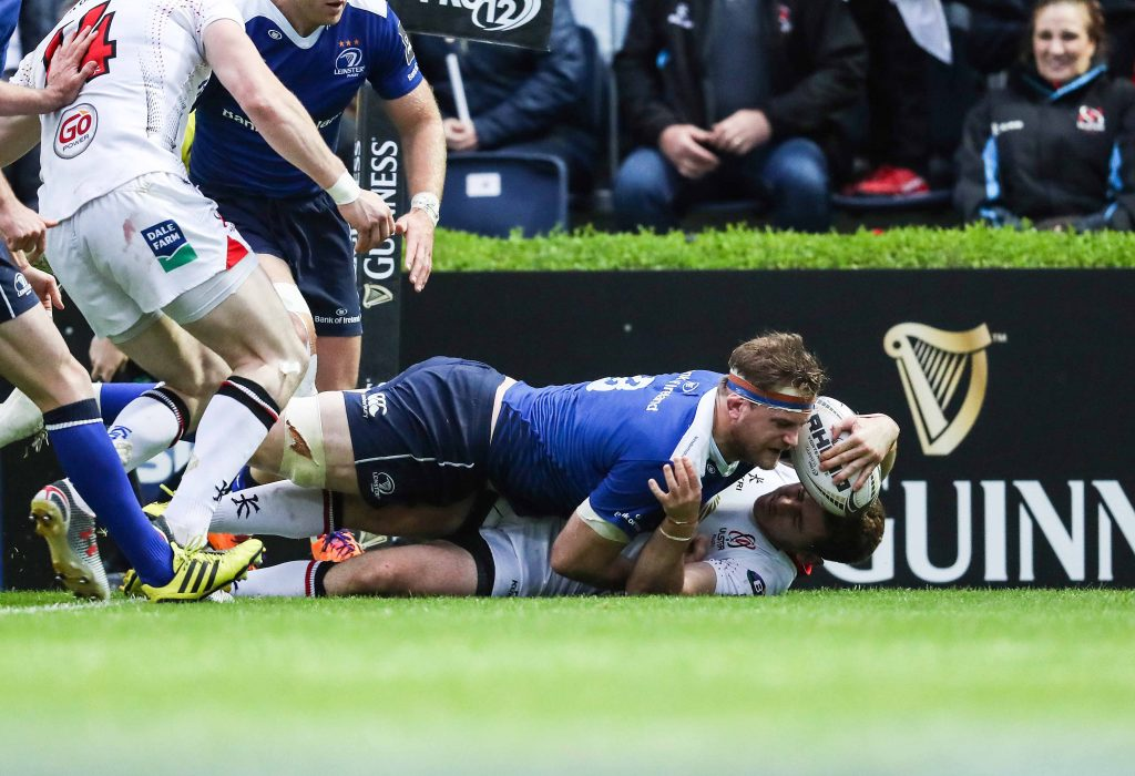 Guinness PRO12 Play-Off, RDS, Dublin 20/5/2016 Leinster vs Ulster Leinster's Jamie Heaslip scores a try Mandatory Credit ©INPHO/Billy Stickland