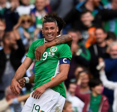 Jonathan Walters celebrates his goal for Ireland