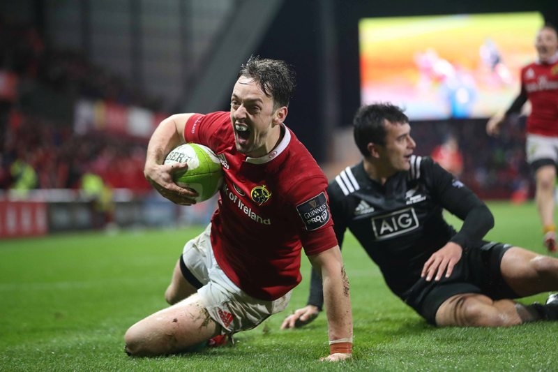 Rugby Friendly, Thomond Park, Limerick 11/11/2016 Munster vs Maori All Blacks Munster's Darren Sweetnam celebrates scoring their third try Mandatory Credit ©INPHO/Billy Stickland
