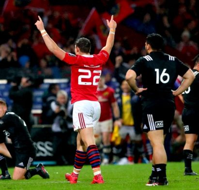 Rugby Friendly,  Thomond Park, Limerick 11/11/2016 Munster vs Maori All Blacks Munster's Dan Goggin celebrates at the final whistle Mandatory Credit ©INPHO/James Crombie
