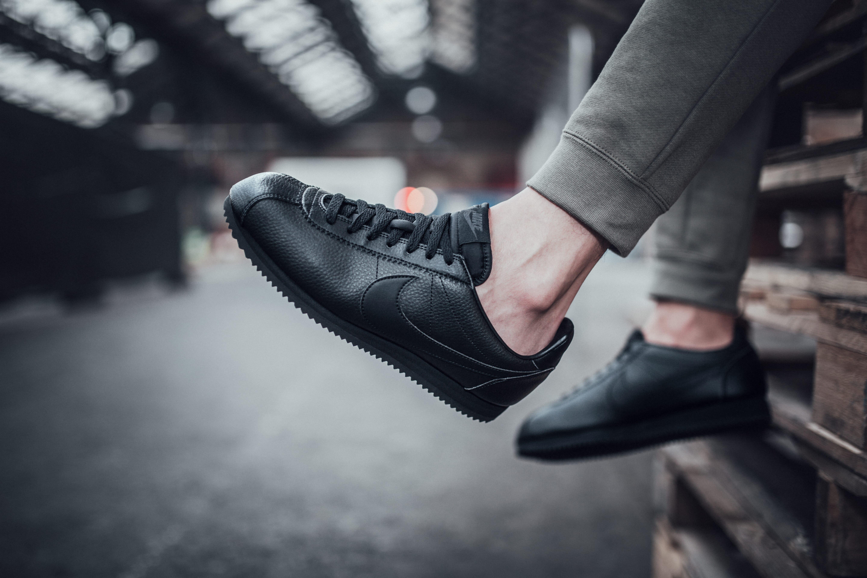 All Black Leather Nike Cortez
