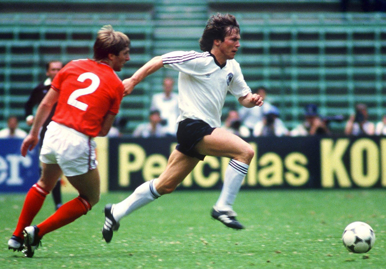 lothar matthaus wearing the copa mundial for germany