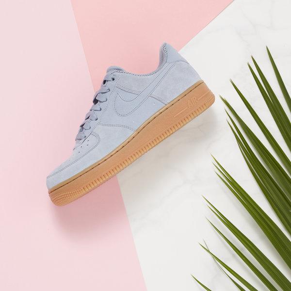 Women's Blue Nike Air Force 1 Gum Sole