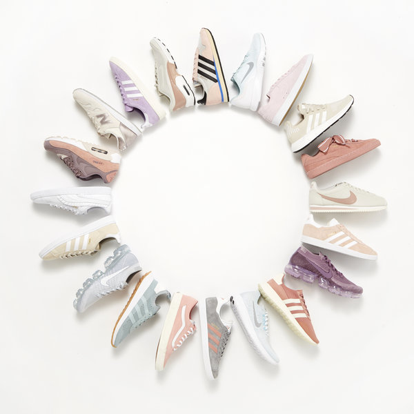 full range of nike and adidas pastel trainers