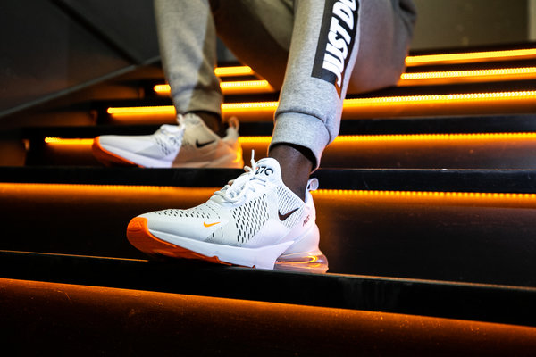 Men's White & Orange Nike Air Max 270