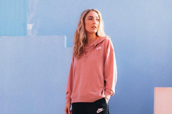 women's pastel pink oversized hoodie