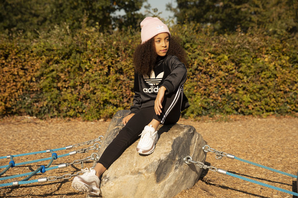girl's pink adidas beanie