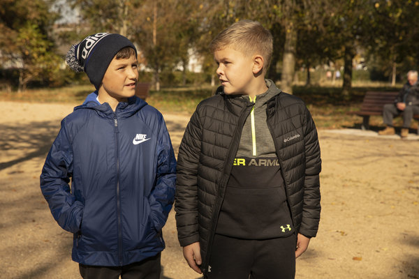 navy and black kids winter coats
